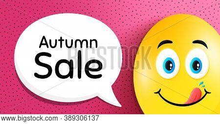 Autumn Sale. Easter Egg With Yummy Smile Face. Special Offer Price Sign. Advertising Discounts Symbo