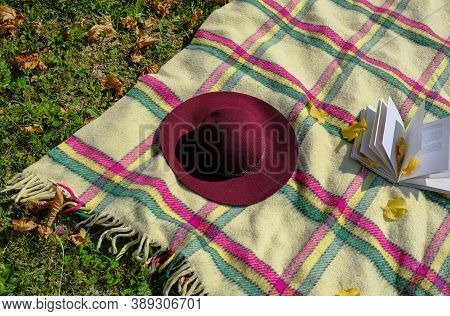 Checkered Blanket With Fringes, Red Fedora, And Open Book On Green Grass With Yellow Fallen Leaves.
