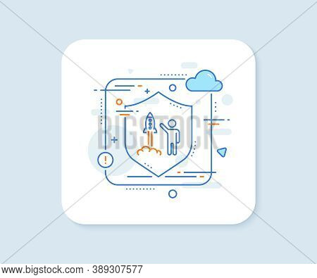 Launch Project Line Icon. Abstract Vector Button. Startup Rocket Sign. Innovation Symbol. Launch Pro