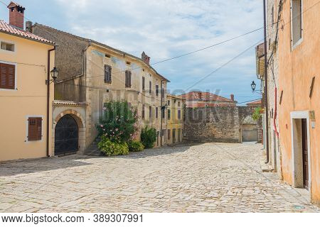 Croatia - July 23, 2018: Beautiful Medieval Stone Buildings In Istria, Croatia