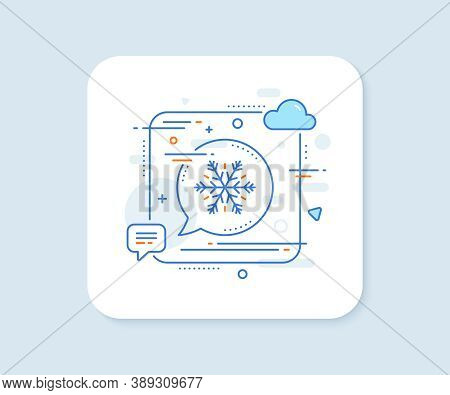 Air Conditioning Line Icon. Abstract Square Vector Button. Snowflake Sign. Hotel Service Symbol. Air