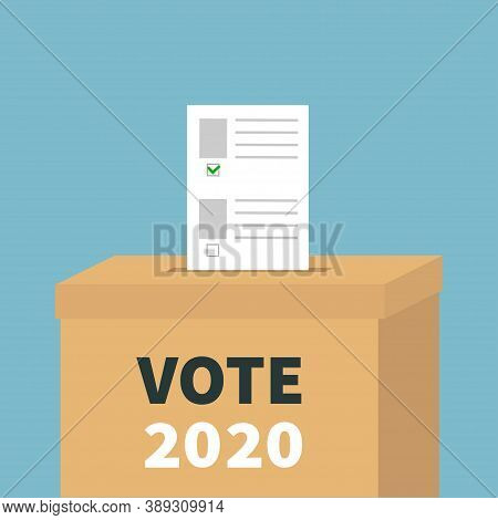 Ballot Voting Box Paper Blank Bulletin With Green Mark Concept. Polling Station. President Election