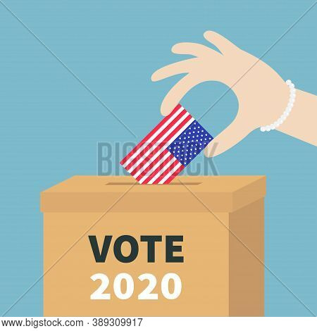 President Election Day Vote 2020. Ballot Voting Box Woman Holding American Flag Paper Blank Bulletin