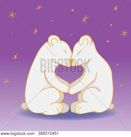 Polar Bears Hold Their Paws Against The Background Of The Starry Sky. Loving Couple Holding Hands. H