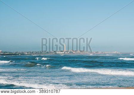 El Hank Lighthouse (pointe D'el-hank Light), Located On Cap El Hank, West Of The Port Of Casablanca