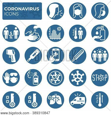 Filled Coronavirus Icons Set. Covid-19 Prevention And Protection Block Linear Sign Collection. Secon