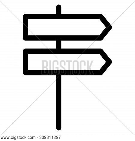 Signpost Icon In Line Style. Guidepost, Direction Arrows Symbol. Milepost, Road Guide Boards.