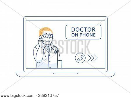Doctor On Phone Thin Line Concept. Online Medical Consultation Support Internet Diagnosis. Telemedic