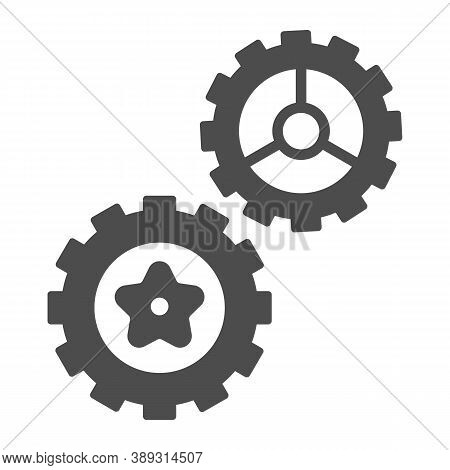 Rotating Gears Solid Icon, Technology Concept, Cogwheel Gear Mechanism Sign On White Background, Two