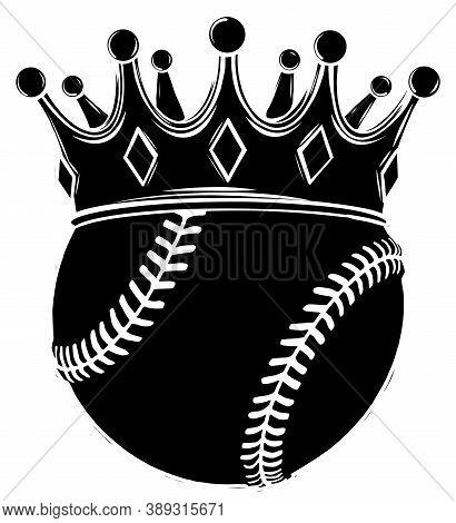 Baseball Ball In Golden Royal Crown. Concept Of Success In Baseball Sport. Baseball - King Of Sport.