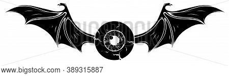 Tattoo Design Of A Flying Eyeball With Wings. Black Silhouette