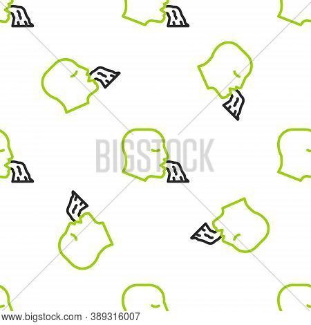 Line Vomiting Man Icon Isolated Seamless Pattern On White Background. Symptom Of Disease, Problem Wi