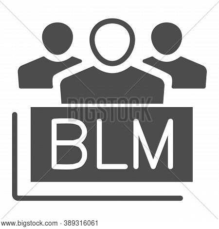 Group Of People With Blm Text Solid Icon, Black Lives Matter Concept, Group Of Multiethnic People Si