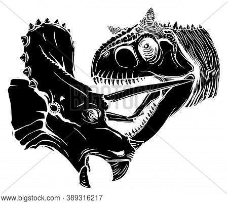 T Rex Versus Triceratops Illustration Black Silhouette Tyrannosaurs Rex Attacking A Triceratops Dino