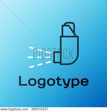 Line Inhaler Icon Isolated On Blue Background. Breather For Cough Relief, Inhalation, Allergic Patie