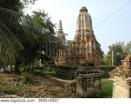 Ayutthaya, Thailand, January 24, 2013: Brick Stupas In The Ruins Of Ayutthaya, Former Capital Of The