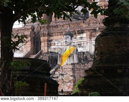 Ayutthaya, Thailand, January 24, 2013: Stone Sculpture Of Buddha In Ayutthaya, Former Capital Of The