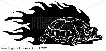 Vector Illustration Of Black Silhouette Sulcata Land Tortoise Design