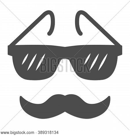 Glasses And Mustache Solid Icon, Face Accessories Concept, Nerd Glasses And Mustaches Sign On White