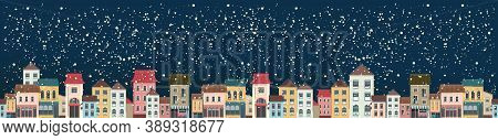 Horizontal Panoramic Banner, Snowy City Landscape, Christmas Night City, Panoramic View, Vector Illu