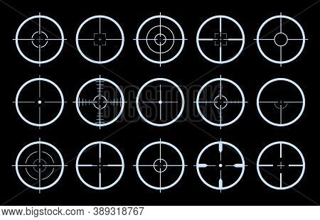 Target On Crosshair Of Gun. Sniper Sight Icons. Cross Scope For Rifle Of Army. Logo For Military Gam