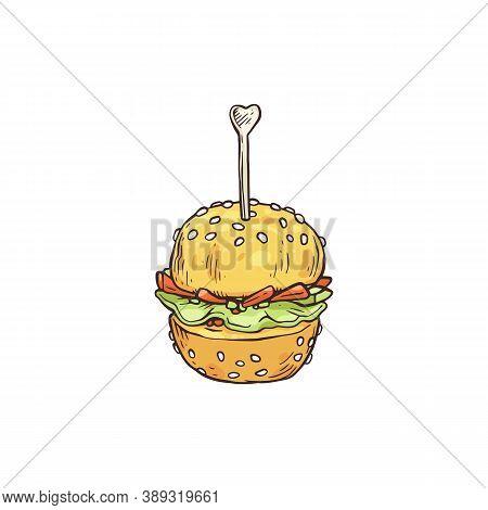 Appetizer In Shape Of Burger On Skewer, Sketch Vector Illustration Isolated.