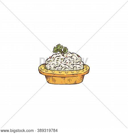 Small Tartlet Appetizer With White Cheese, Sketch Vector Illustration Isolated.