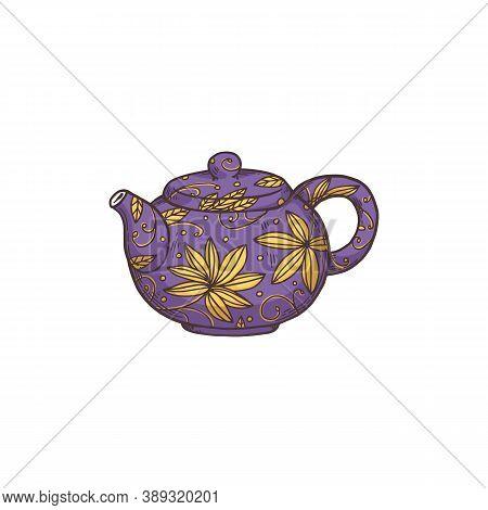 Sketch Purple Kettle For Teatime, Flat Cartoon Vector Illustration Isolated