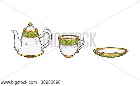 Tea Utensils And Crockery Set With Teapot Sketch Vector Illustration Isolated.