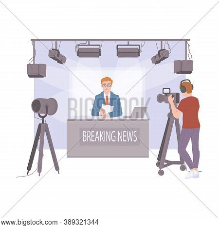 Breaking News Tv Studio With Videographer - Flat Vector Illustration.