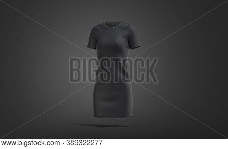 Blank Black Cloth Dress Mockup, Dark Background, 3d Rendering. Empty Basic Or Cocktail Long Apparel