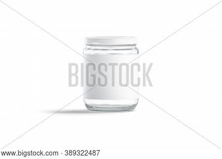 Blank Glass Jar With White Label And Cap Mockup, Isolated, 3d Rendering. Empty Storage Canister With