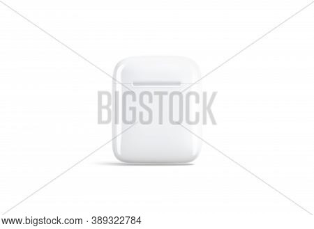 Blank White Closed Headphones Case Mock Up Stand, Front View, 3d Rendering. Empty Earpieces Device F