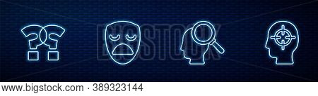 Set Line Finding A Problem, Question Mark, Drama Theatrical Mask And . Glowing Neon Icon On Brick Wa
