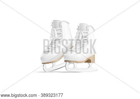 Blank White Ice Skates Mock Up On Tiptoe, Half-turned View, 3d Rendering. Empty Sportive Boots For I