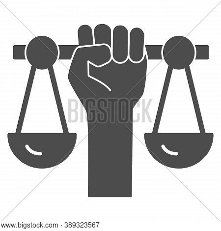 Hand Holding Scales Solid Icon, Black Lives Matter Concept, Civil Rights Sign On White Background, J