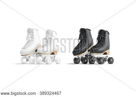 Blank Black And White Roller Skates Mockup Pair On Tiptoe, 3d Rendering. Empty Disco Skating Shoe Mo