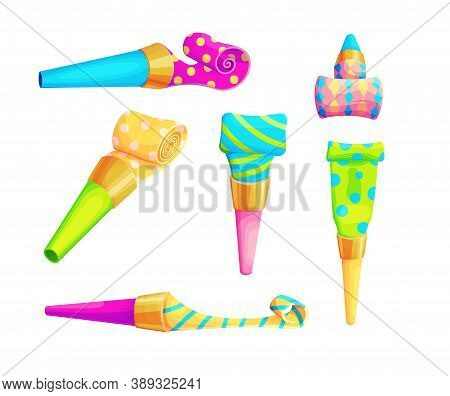 Birthday Party Whistle Accessory Set. Isolated Clown Blower Collection. 3d Blowout Isolated Vector I