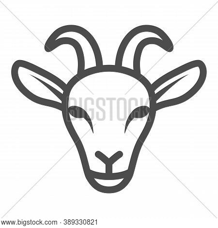 Goat Head Line Icon, Livestock Concept, Nanny-goat Head Sign On White Background, Goat Face Icon In