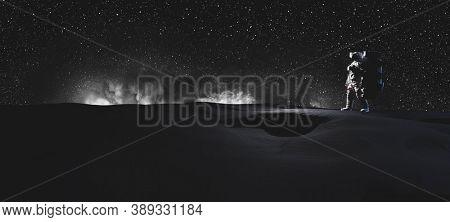 Astronaut doing space walk on Moon. Galactic exploration. 3D render