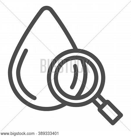 Blood Drop Under Magnifier Line Icon, Medical Tests Concept, Blood Test Sign On White Background, Dr