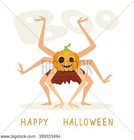 Scary Jack O Lantern With Many Hands. Monster With Pumpkin Head For Halloween Isolated On White Back