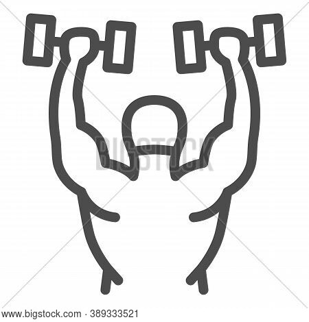 Lifting Dumbbells Line Icon, Gym Concept, Weightlifter Sign On White Background, Bodybuilder Lifting