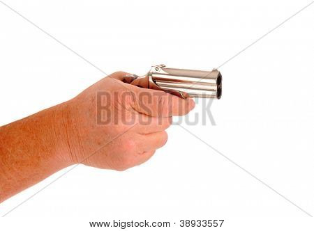 Derringer cocked in a hand isolated on white