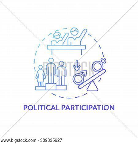 Political Participation Concept Icon. Gender Gap Criterias. Changing Political Country Life. Electio