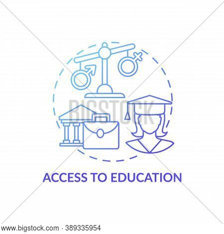 Access To Education Concept Icon. Gender Gap Criteria. Getting Modern Degree In University. Internet