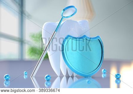 Shield with a dental mirror near a tooth. Concept of dental care and regular dental checkup and treatment. 3d illustration