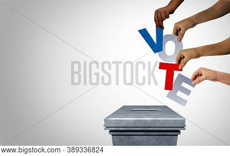 President Election Vote And Voting Diversity Concept As Diverse Hands Casting Ballots At A Polling S