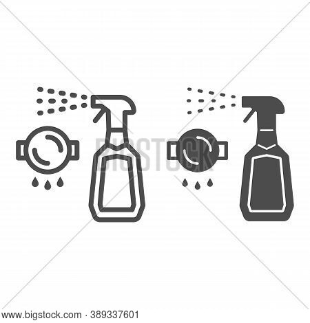Bottle Spray Cleaner Line And Solid Icon, Cleaning Tools Concept, Spray For Grease Sign On White Bac