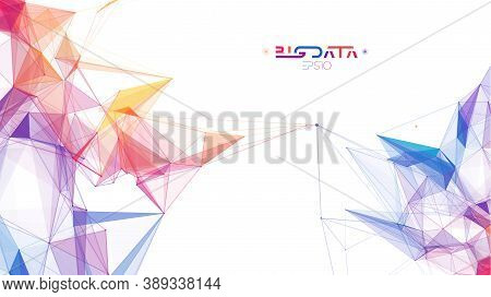 Big Data Analytics Blockchain Technology Background. Colorful Triangle Particles Background. Eps 10.